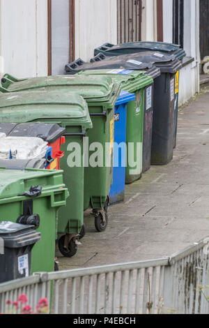 Collection of commercial wheeliebins in Truro, Cornwall. - Stock Image