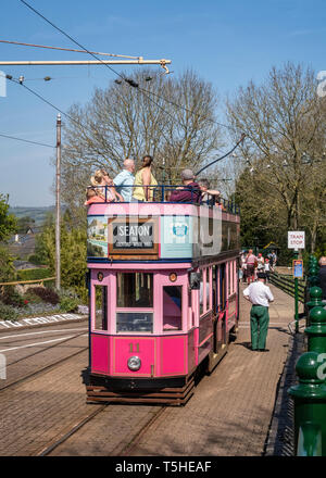 People aboard the Seaton tramway at Colyton Station, Devon, UK - Stock Image