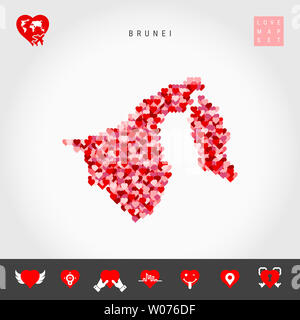 I Love Brunei. Red and Pink Hearts Pattern Map of Brunei Isolated on Grey Background. Love Icon Set. - Stock Image