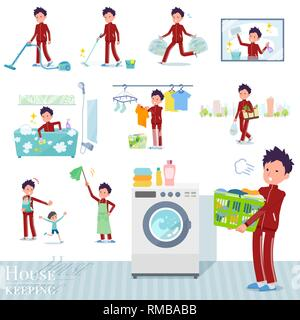 A set of school boy in sportswear related to housekeeping such as cleaning and laundry.There are various actions such as child rearing.It's vector art - Stock Image