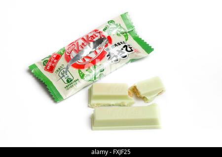 Unusual Japanese Kitkat flavours. This is Wasabi (a spicy Japanese root similar to horseradish) - Stock Image