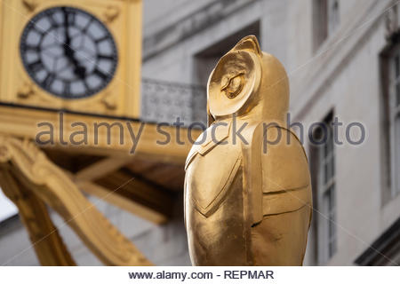 Leeds Golden Owl and Clock by the Civic Hall Tower Leeds West Yorkshire England - Stock Image
