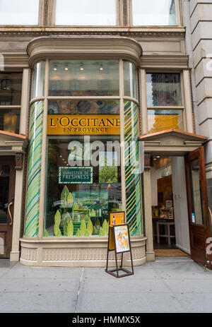 Exterior entrance and window display of a L'Occitane en Provence store on Fifth Avenue. New York - Stock Image