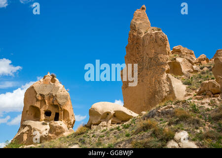 geography / travel, Turkey, Middle East, Cappadocia, tuff rock formations at the Zelve Valley, Additional-Rights - Stock Image