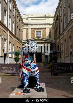 Gorgeous George the Beast of Beeston, one of the 84 Art Sculptures in the of  Go Go Dragons Trail, in Norwich, Norfolk, - Stock Image