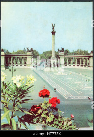 HUNGARY - CIRCA 1968: A postcard printed in Hungary, shows the Heroes' Square with Millennium Monument, circa - Stock Image