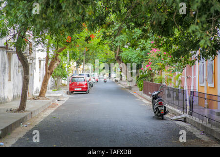 A calm street in downtown Pondicherry on a summer afternoon - Stock Image