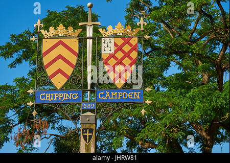 Ornate coat of arms for the Cotswold market town of Chipping Campden - Stock Image