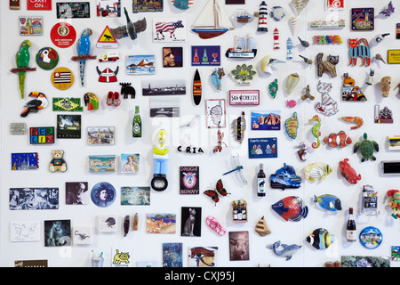 Fridge Magnet collection, showing magnets from around the world. Vertical version also - Stock Image