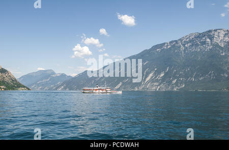Paddler steamer the Italia on Lake Gard coming into Limone. - Stock Image