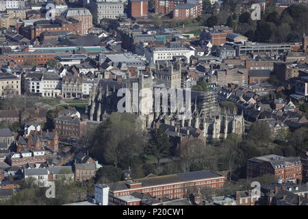 An aerial view of Exeter Cathedral, Devon UK - Stock Image