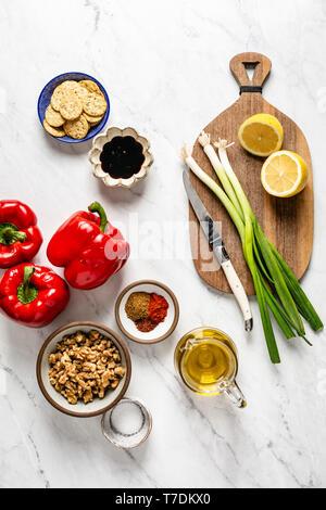 Ingredients for muhammara - Stock Image