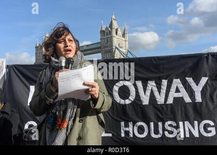 London, UK. 3rd November 2018. Several hundred people, mainly from London's council estates under threat of demolition by Labour London councils came to a protest outside City Hall called by 'Axe the Housing Act'. The protest called for an end to estate demolitions unless  approved by a ballot of all residents, and for public land to be used to build more council homes rather than being turned over to developers to make huge profits from high-priced flats. ons and often illegal activities of London Labour coun Credit: Peter Marshall/Alamy Live News - Stock Image