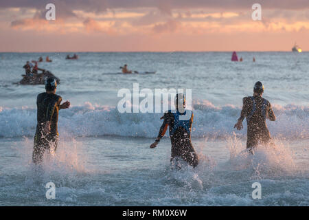 Early morning swimming competition at Mooloolaba in Queensland. - Stock Image