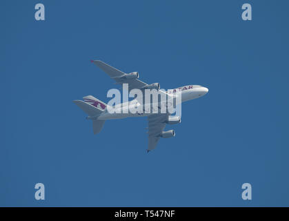 A7-APJ Airbus A380-861 of Qatar Airways leaving Heathrow Airport on 21st April, 2019 for Doha. - Stock Image