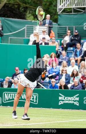Edgbaston Priory Club, Birmingham, UK. 21st June, 2019. WTA Nature Valley Classic tennis tournament; Barbora Strycova (CZE) serves in her quarterfinal match against Kristyna Pliskova (CZE) Credit: Action Plus Sports/Alamy Live News - Stock Image