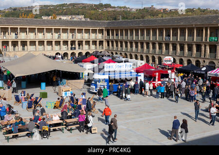 Chow Down food market in the Piece Hall, Halifax, West Yorkshire - Stock Image