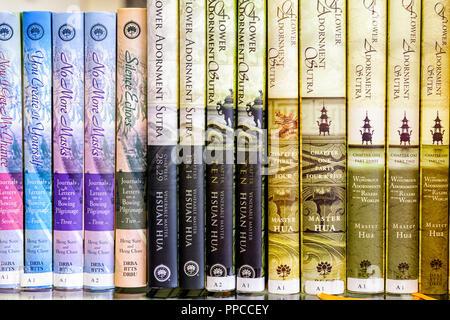 Books of sutra at the Avatamsaka Monastery in Calgary Alberta - Stock Image
