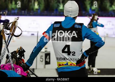 Ole Einar Björndalen (NOR), Darja Domratschewa (BLR). JOKA Biathlon World Team Challenge 2018 auf Schalke. - Stock Image