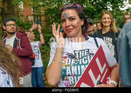 London, UK. 25th August 2018. Thousands or vegans march through London from Westminster to Hyde Park on the Official Animal Rights March founded by animal rights organisation Surge, calling for an end to animal oppression and urging everyone to stop eating animals and using dairy products. They say that animal lives matter as much as ours and call for an end to speciesism, and the misuse of animals for food, clothing and sport. Peter Marshall/Alamy Live News - Stock Image