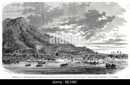The general district of insurrection at Union Port in San Salvador, organised by Barrios, with insurgents retreating.Men in the distance run from the shore and port town, as the insurrection dies down. - Stock Image