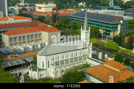 CHIJMES Convent of the Holy Infant Jesus Chapel converted into social hall function event centre Victoria Street Singapore. - Stock Image