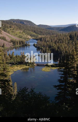 Looking down at Twin Lakes, Inyo National Forest near Mammoth Lakes, California, USA - Stock Image