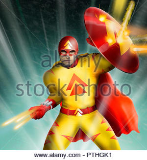 Science fiction superhero in fight with laser guns - Stock Image