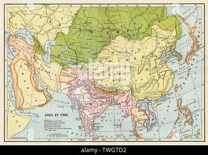 Map of Asia in 1905. Color lithograph - Stock Image