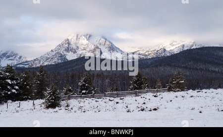 sawtooth mountain range idaho sun valley - Stock Image