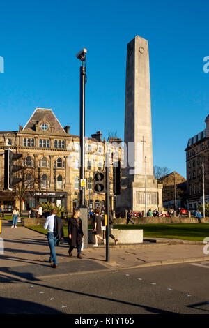 The War Memorial in Prospect Square in the centre of Harrogate North Yorkshire on a sunny spring morning - Stock Image