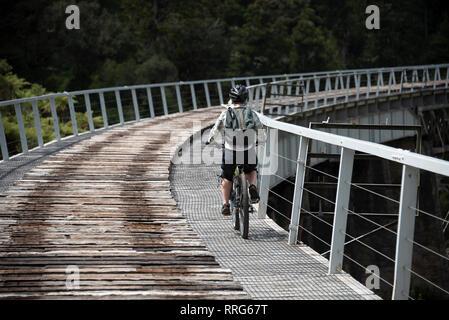 Biking tour on the trail, Oamaru, North Island, New Zealand. - Stock Image