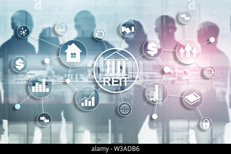 Real Estate Investment Trust REIT on double exsposure business background. - Stock Image