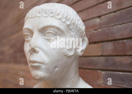 Merida, Spain - December 20th, 2017: The Gipsy Woman portrait at National Museum of Roman Art in Merida, Spain - Stock Image