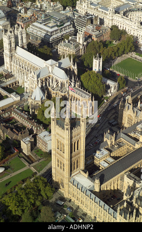 Aerial view of the Victoria Tower which is at the southern end of the Houses of Parliament. Also featured is Westminster Abbey - Stock Image