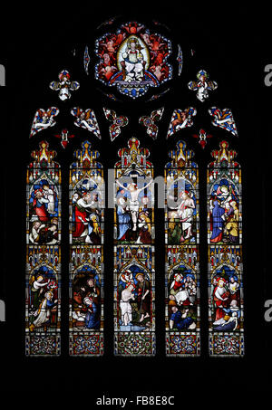 East Window, St Peter's Church, Deene, Northamptonshire - Stock Image