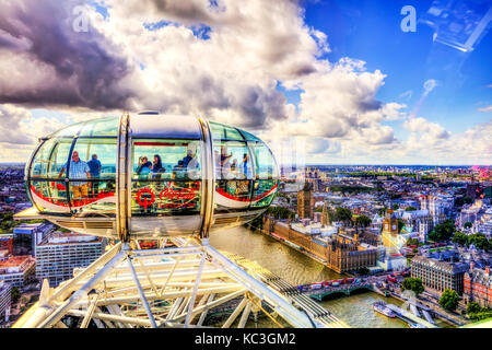 On London Eye, The Thames from London Eye, London eye capsule, Top of London eye, London eye wheel, tourists on - Stock Image