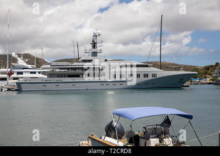 Skat 9906 luxury yacht moored in English Harbour in Antigua, The Caribbean - Stock Image