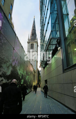 Contrasting styles of buildings, City of London, England, UK - Stock Image