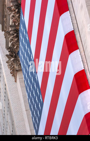 American flag in the Stock Exchange, Wall Street, Manhattan, New York USA - Stock Image