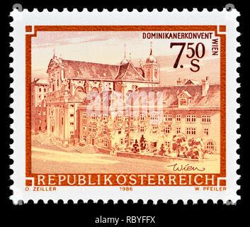 Austrian postage stamp (1986) : Monasteries and Abbeys series: Dominican Abbey, Vienna / Dominikanerkonvent Wien - Stock Image