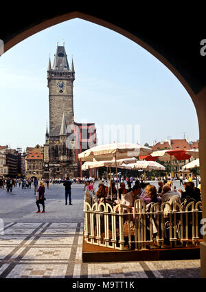 9075. Old Town Square, Cafe and Town Halll, Prague,  Czech Republic, Europe - Stock Image