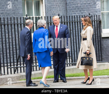 London, UK. 4th June, 2019. President Trump and his wife Melania meet Theresa May and her husband Philip in Downing Street for a lunchtime meeting during his Three day State visit to the UK. Credit: Keith Larby/Alamy Live News - Stock Image