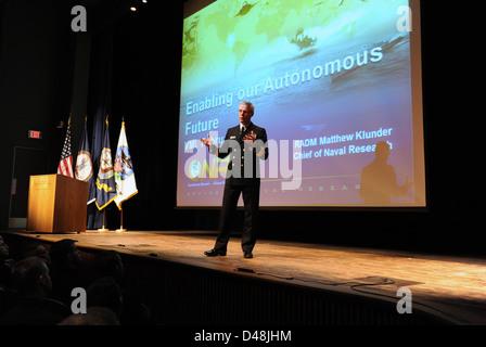 Rear Adm. Kludner speaks at the Virginia Military Institute. - Stock Image