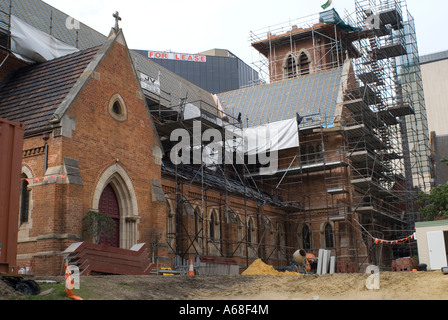 Restoration work on the roof of St. George's Cathedral, Perth, Western Australia - Stock Image