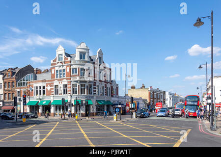 Corner of Upper Richmond Road and Putney High Street, Putney, London Borough of Wandsworth, Greater London, England, United Kingdom - Stock Image