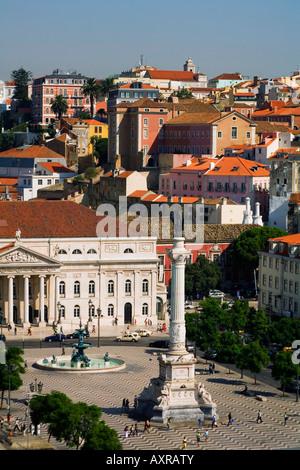 Portugal Lisbon Portugal View from Elevator Santa Justa towords Rossio square teatro Nacinal Dona Maria II - Stock Image
