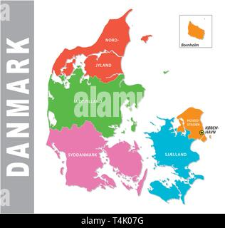 Colorful Denmark administrative and political map - Stock Image