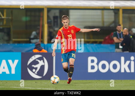 the Stadio Renato Dall'Ara, Bologna, Italy. 22nd June, 2019. Dani Olmo (ESP), JUNE 22, 2019 - Football/Soccer : UEFA European Under-21 Championship 2019 Group stage match between Under-21 Spain 5-0 Under-21 Poland at the Stadio Renato Dall'Ara, Bologna, Italy. Credit: Mutsu Kawamori/AFLO/Alamy Live News - Stock Image