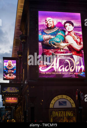 Aladin west end musical signage on Prince Edward Theatre in Old Compton Street, Soho, London UK - Stock Image